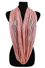 Soft Lace pattern Jersey Feel Infinity Scarves
