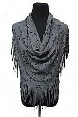 Suede Fringe Versatile Shawl With Floral Cutout