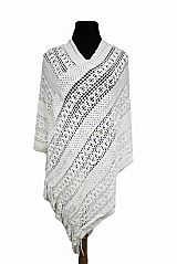 Double Spiral Knit Design With Sequins Sewed Accent Poncho
