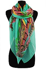 Big Feather Color fully Scarves & Wraps
