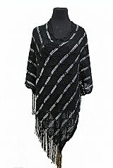 Large Honey Comb Knit Patterned With Sequins Details Poncho