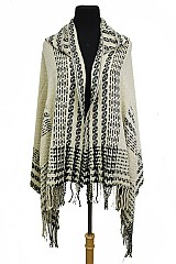 Sweater Styled With Hood Poncho Design With A Geo Pattern