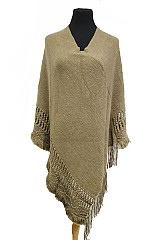 Loose Knit Weave Outlined With Distressed Ends Super Softness Poncho