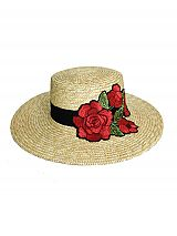 South Beach Straw Boater Hat with Oversized Blossom Peony Embroidered Applique