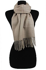 Super Soft Cashmere Feel Solid color Scarves with Fringe