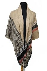 Multi Colored Plaid Honey Comb Print Over Sized Blanket Scarves