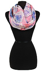 Roses Pattern in Soft Fabric Infinity Scarves