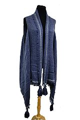 Wool Feel Blanket Fabric Point  Striped Design with Tassel Semi Sheer Cardigan