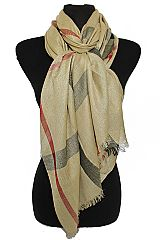 Shimmery Golden Threading Classic Fashion Plaid Distressed Scarves