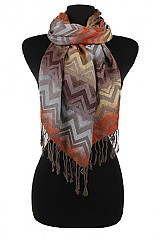 Missoni pattern Multi Colorful Silk and Pashmina fabric Scarf