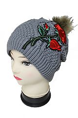Single Red Rose Patch With Fur Pom Pom Knitted Beanies With Fur Lining