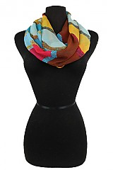 Multi Colorful paisley Infinity Scarf