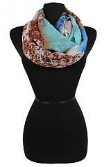 Natural Print Colorful infinity scarf