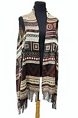 Aztec and Striped Design Soft Wool feel Distressed Vest Cardigan
