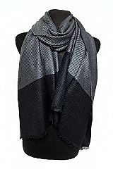 Striped Pattern Cashmere  Feel Unisex Long and Wide Super Soft Shawls Scarf