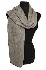 Unisex Knit Basic Rib Knit Double Crossed Pattern Softness Scarves