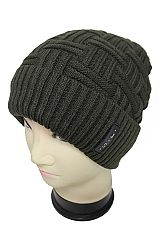 Cuff rib Knit With Short Stroke Knit Pattern Basic Beanies