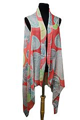 Circle Pattern colorful Extra Soft Sleeveless Kimono Cardigan Fashion
