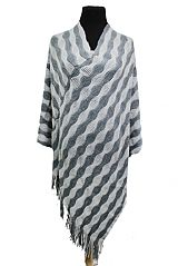 Wave Pattern Striped Design Two Tone Super Softness Poncho