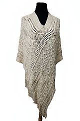 Diagonal Cable & Bubble Knit Poncho with Fringes