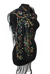 Colorful Sequin Chiffon Extra Soft Floral Detail Festive Scarves And Shawls