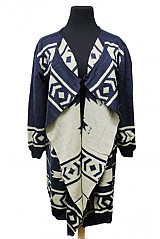 Aztec Pattern Ruffly Accent Cardigan Sweater Poncho