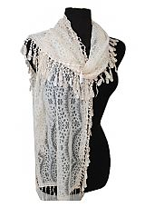Long Oblong Softness Lace All Around Fashion Scarves With Tear Drop Trimming