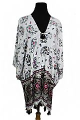 Worry Free All Over Large Dispersed Paisley Print Closed Off Kimono