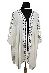 Embroidered Boho Flow Open Softness Kimono With Choker Styled Neckline