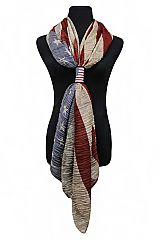 Shirring wrinkles American Flag with American Flag Hole Accessories Vintage Scarf