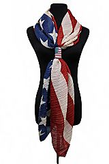 Shirring wrinkles American Flag with American Flag Hole Accessories Original Color Scarf