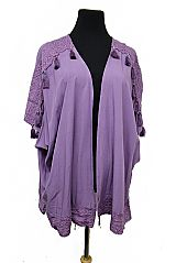 Lace Trim Itty Colored Beaded Tassel Spring Cover Up Kimono Tunic Top