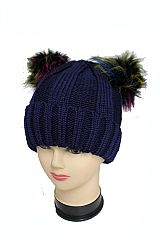 Thick Knitted Big Striped Design  with Colorful Pom Pom and Inside Faux Fur Warm Hat