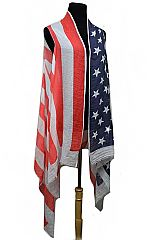 All American Red white And Blue Sleeveless Cardigan Styled Top