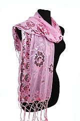 Sheer & Chiffon Sensational Sequins Shawl Scarf with Hearts and Flowers