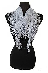 Mini Daisy Printed Lace Tear Drop Triangle Cut Scarves