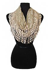 Softness Lace All Around Fashion Infinity Scarves With Tear Drop Trimming