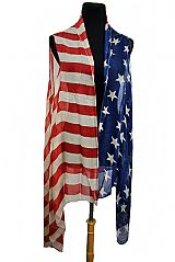 American Flag Semi Sheer Sleeveless Cardigan Style