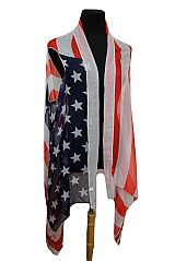 Super Softness Original Color American Flag Semi Sheer Sleeveless Cardigan Vintage
