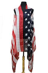 American Flag Semi Sheer Sleeveless Cardigan Original Color Distressed Kimono Top Cover Up Wrap