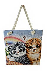 Kitty And Puppy Lover Animal Friendly Canvas Tote Bag