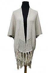 Crochet knitted with fringe thick Poncho
