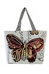 Butterfly Printed Canvas Tote Bag With Flat Stripe Handles