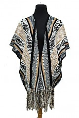All Over Patterned FringTrimmed Open Poncho