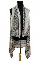 Sheer Softness Polka Dot And Lace Sleeveless Kimono Cover Up