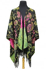 Colorful Paisley Pattern Super Softness Big and Thick Poncho