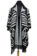 Cashmere Feel Geometric Pattern with Hooded Big Poncho