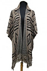 Tribal Pattern with Hooded Style Spandex Poncho