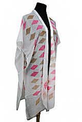 Colorful Diamond pattern Sleeves Cardigan Style Kimono