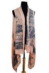 Oversized Paris Eiffel Tower Printed Softness Kimono